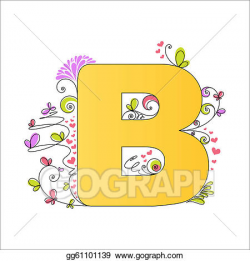 Vector Art - Colorful floral alphabet. letter b. Clipart Drawing ...