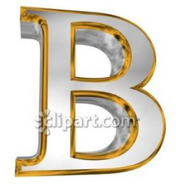 Gold and Chrome Letter B - Royalty Free Clipart Picture