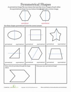 Symmetrical Shapes | Worksheet | Education.com
