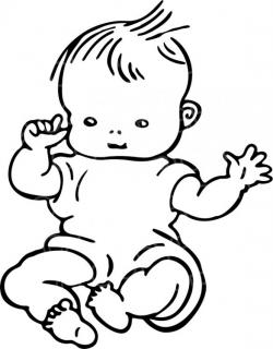Black & White Line Drawing of a Cute Baby Prawny Clip Art – Prawny ...