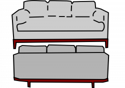 Clipart - gray sofa front and back