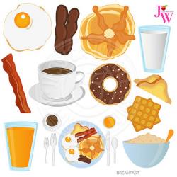 Breakfast Food Digital Clipart, Breakfast Clip art, Donut, Coffee ...
