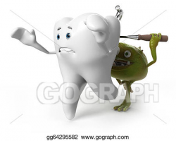 Stock Illustration - Tooth and bacteria. Clipart gg64295582 - GoGraph