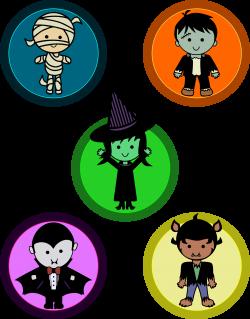 Clipart - Cute Halloween Monster Badges