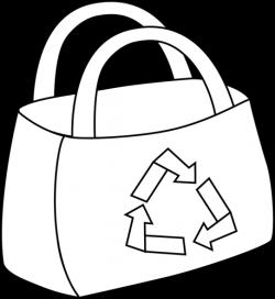 Black and White Eco Friendly Shopping Bag Clip Art - Black and White ...