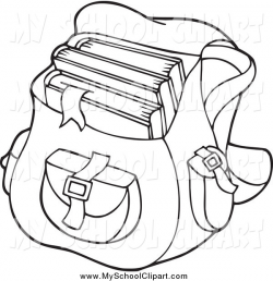 Clip Art of a Black and White Backpack School Bag by visekart - #1642