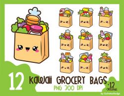 35% OFF, Grocery bag clipart, kawaii clipart, groceries clip art ...