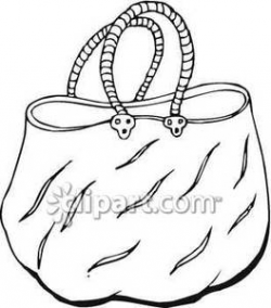 Outline of a Woman's Tote Bag Royalty Free Clipart Picture