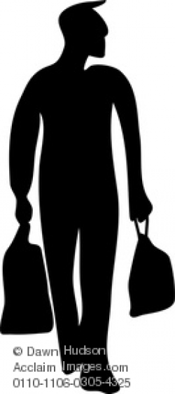 Clipart Image of Silhouette Figure Of A Man Carrying Shopping Bags