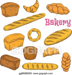 Vector Illustration - Fresh baked pastries and bread sketch ...