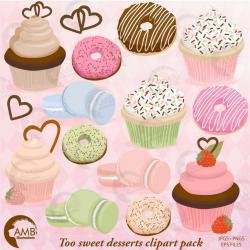Cupcake clipart, Donut Clipart, Bake Sale Clipart, Macaroon ...