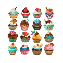 Cute Cupcake ClipArt Set of 16 PNG JPG and Vector Cupcakes