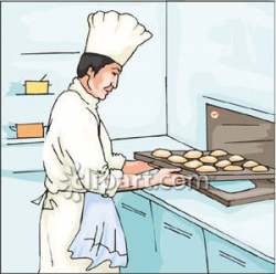 Pastry Chef Putting Puffs In the Oven - Royalty Free Clipart Picture