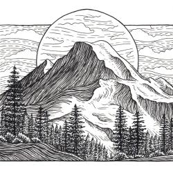 Mt Baker 5x5 Print Mountain Art Giclee Print
