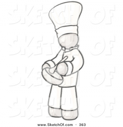 Drawing of a Sketched Design Mascot Baker Chef Cook Mixing ...