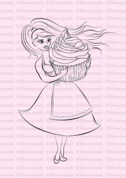 Digital Stamp Cupcake Girl Baking Baker Cake Digi Lineart Birthday ...