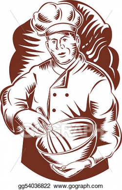 Stock Illustration - Baker with a woodcut bowl. Clipart Drawing ...