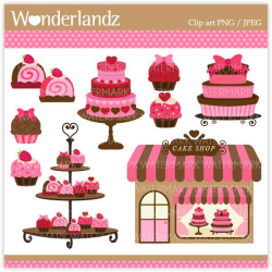 ZA16 Pink Cake Shop - digital clip art - cake, pink, polkadot ...