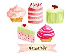 Cupcake clipart, bakery clipart, tea party clipart, cakes clipart ...