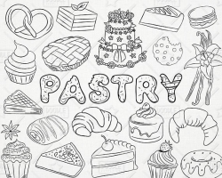 Doodle Pastry Vector Pack Bakery Clipart Sweets Clipart