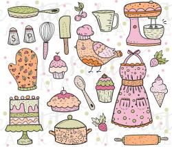Cute Baking Clip Art, Kitchen Clipart, Cooking Clipart, Bird Clipart ...