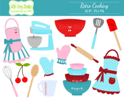 50% OFF Cooking Clipart - Baking Clipart - Retro Cooking Clip art ...