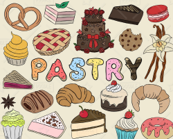 Pastry Clipart Vector Pack Bakery Clipart Sweets Clipart