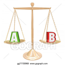 Stock Illustration - A b testing gold scale balance comparing ...