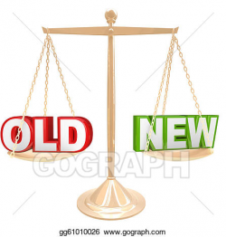 Clip Art - Old vs new words on balance scale weighing comparison ...