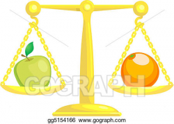 EPS Illustration - Balancing or comparing apples with oranges ...