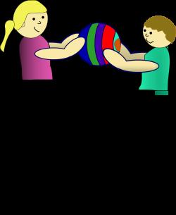 Clipart - children sharing a ball