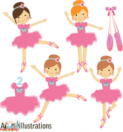 Little Girl clipart ballerina - Pencil and in color little girl ...