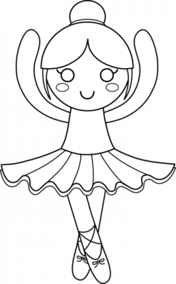 Ballerina clipart black and white - Pencil and in color ballerina ...