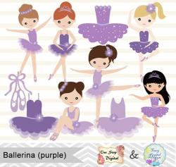 Digital Ballerina Clipart, Purple Ballet Girl Clip Art, Dancing Girl ...