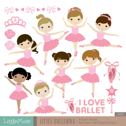 Little Ballerina Digital Clipart, Ballet Clipart, Ballerina Girl ...
