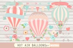 HOT AIR BALLOONS clipart ~ Graphics ~ Creative Market