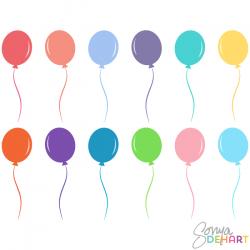 Vector Clip Art Birthday Party Balloons