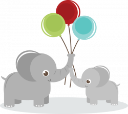 Elephants Holding Balloons SVG elephant clipart cute clip art cute ...