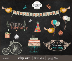 Birthday Chalkboard clip art balloon bicycle от GingerWorld | HB ...