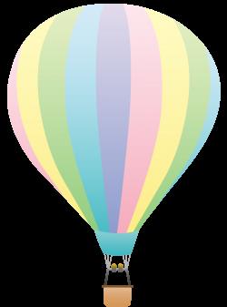 Hot Air Balloon Clip Art | Striped Pastel Colored Hot Air Balloon ...