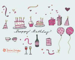 Birthday Party Elegant pink and cream clipart, birthday cake doodles ...