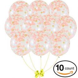 Amazon.com: Rose Gold 18-inch Confetti Balloon Set   10 Premium ...