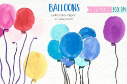 Watercolor Clip Art - Balloons ~ Illustrations ~ Creative Market