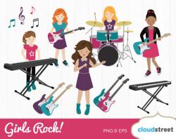 BUY 2 GET 1 FREE Girls Rock band clipart / rock band clip art / girl ...