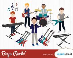 BUY 2 GET 1 FREE Boys Rock clipart / boy rock band clip art / boy ...