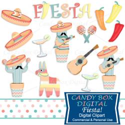 Mexican Fiesta Clipart Pinata and Chili Pepper Clip Art