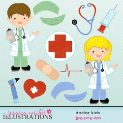 Doctor Kids Cute Digital Clipart for Commercial or Personal ...