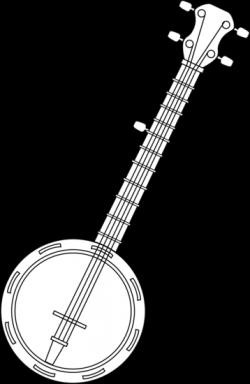 Banjo Colorable Line Art - Free Clip Art