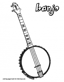 Country Music Banjo Coloring Pages - free downloads