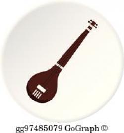 Vector Art - Traditional one string indian ektara icon. EPS clipart ...